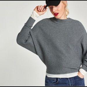 zara ribbed mock neck sweater
